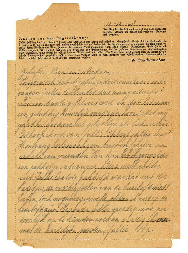 Brief van Ap van Duren uit kamp Vught aan zijn zus en zwager (Afbeelding: Wachttoren Genootschap, Emmen)